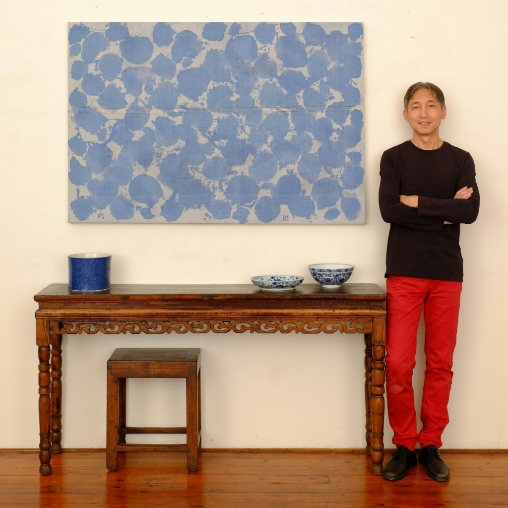 Hou Leong Ink Painting 'Large Blue Splotches' fabric ink on raw canvas